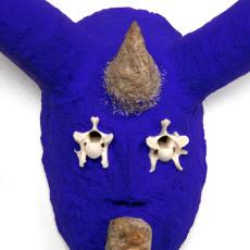 Joanna Rajkowska<br />Mask with Roe Deer's Vertebrae (detail)<br />2019<br />Papier-mâché, roe deer's vertebrae,  stone, acrylic paint, beeswax