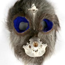 Joanna Rajkowska<br />Mask with Badger's Skull and Roe Deer's Vertebra<br />2019<br />Papier-mâché, badger's skull, roe deer's vertebra, animal fur, wire, acrylic paint<br />26 x 19.5 x 17.3 cm (approx.)