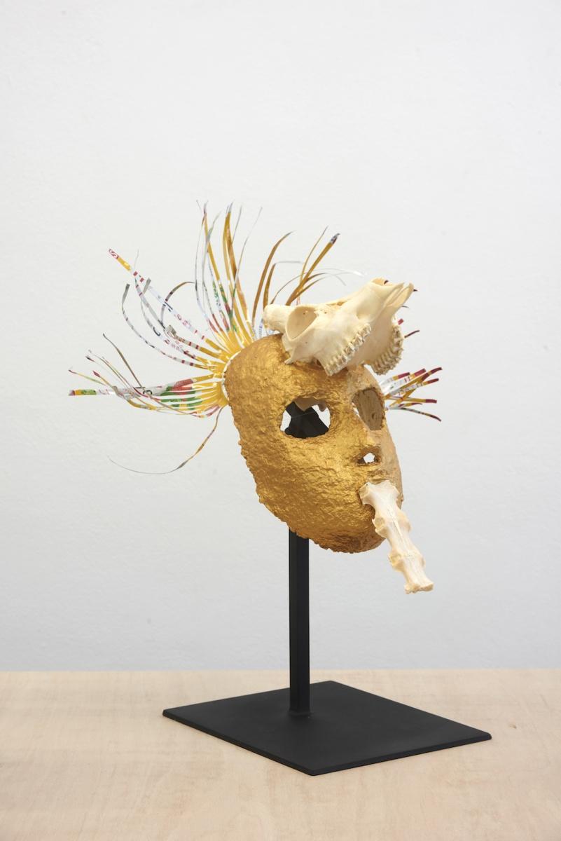 Joanna Rajkowska, Mask with Roe Deer's Skull and Spine, 2019 Papier-mâché, fox skull, beer can  43 x 39 x 22 cm (approx.)