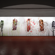 Małgorzata Markiewicz<br />We Are Born Delicate and Fragile<br />2007<br />fresco<br />installation view of 'Transformations' , Bunkier Art Gallery Cracow
