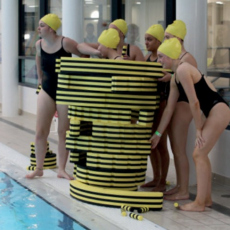 Her Name is Prometheus, community event with synchronised swimming team and the floating sculpture Townlets, Commissioned by Index festival and The Art House, Wakefeld, 2019.