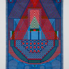 Yelena Popova<br />Keepsafe II<br />2019<br />Jaquard woven tapestry<br />186x1425cm