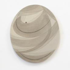 Yelena Popova<br />Oval 2<br />2018<br />Wood ash, seaweed ash, soil on canvas<br />49 x 41 cm