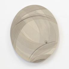 Yelena Popova<br />Oval 1<br />2018<br />Wood ash, seaweed ash, soil on canvas<br />49 x 41 cm