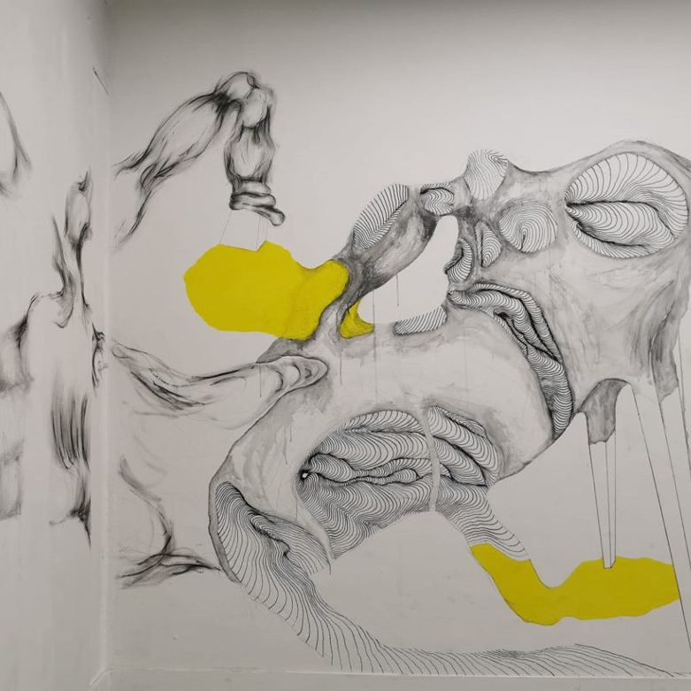 Image of a drawing on a wall by Tatiana Wolska and Sandra Lecoq